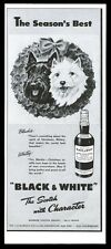1948 Scottish Terrier & Westie Christmas wreath Black & White Scotch whisky ad