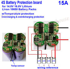 4S 15A 14.8V Lithium Li-ion 18650 Battery Cell Packs Protection BMS PCB Board