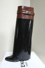 8 / 38.5 Givenchy Black Brown Leather Shark Lock Tooth Fold Over Wedge Boot Shoe