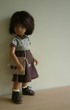 Mid length chocolate brown cotton dress for larger Sasha doll.