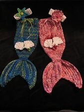 Crochet Mermaid Baby Photo Prop (Mermaid Tail, Bikini Top and Head Band)