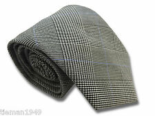 British Woven Prince of Wales Check Mens Tie Black, White, with Blue Stripe