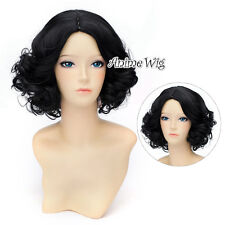 Princess Short Curly 30CM Black Anime Heat Resistant Cosplay Hair Full Wig