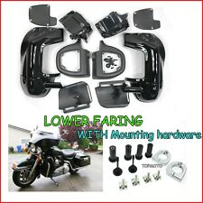 Vivid Black Lower Vented Fairing with hardware Screws kit Harley  Touring Parts
