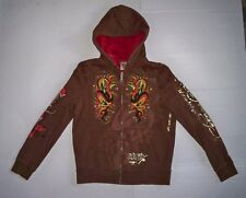 Ed Hardy Womens Brown Zip Front Beaded Snakes & Pirate Skulls Lined Hoodie Sz M