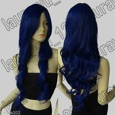 UKJF187  Long vogue fashion Dark Blue Wavy Cosplay Wig  wigs for women