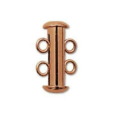EIGHT Beadsmith Copper-Plated Tube Clasps - 2 STRAND SLIDE LOCK