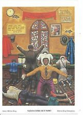 """African American Vintage Art Print Church """"Satan Come Out Now"""" Mini Size 5.5X8"""