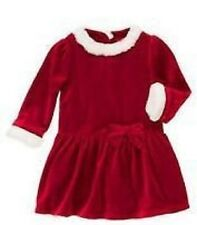 GIRLS 5T GYMBOREE SWEET TREAT WASHABLE WHITE FAUX FUR TRIM RED VELOUR DRESS BOW