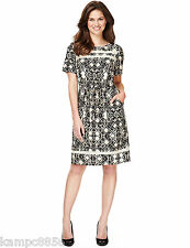 New M&S Woman Black Beige & Cream Abstract Ladder Neck Shift Dress Sz UK 16