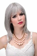 Smooth women's wig Grey Grey Shoulder length & Fringe approx. 19 11/16in 3003-51