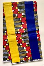 African Fabric, Ankara- Red, Blue, Yellow 'Pencil Me In' Design, By the Yard