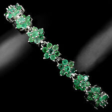 Sterling Silver 925 Genuine Natural Green Emerald Flower Bracelet 7 Inches