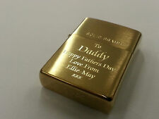 Personalised Engraved Genuine Zippo lighter, Brass. Great Men's Christmas Gift