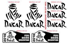 7  pcs Die Cut BLACK Vinyl sticker DAKAR 2016 Offroad PERU BOLIVIA ARGENTINA