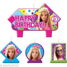 BARBIE Sparkle MINI CANDLE SET (4pc) ~ Birthday Party Supplies Cake Decorations