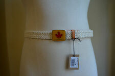 DSQUARED² WOVEN BRAIDED BEIGE COTTON TAN LEATHER ENAMEL BUCKLE LOGO BELT S M