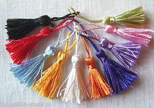 LOT de 10 MINI POMPONS GLAND SATINÉ **5 cm** 10 coloris mélangés - bijoux tricot