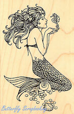 Mermaid with Seahorse Wood Mounted Rubber Stamp Stampendous Stamp P151 NEW