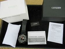 CITIZEN AUTOMATIC DIVER'S 100M CHUNKY BLACK PVD BOXED MINT NEW BRACELET COST £20