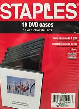 New Staples 10 Dvd Cases Cd, DVDs Insertable Plastic Cover Black 11236-U.S.