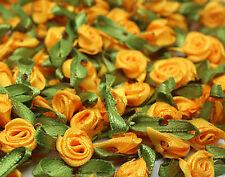 50PCS Satin Ribbon Rose Flower DIY Craft Wedding Appliques 12mm DIY orange