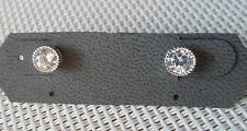 QVC Diamonique cz Sterling/Platinum Rope Edge Bezel Set Stud Earrings-1.00cttw