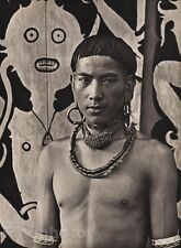 1940 Original BORNEO SEMI NUDE MALE Kelabit Jewelry Art Photo Gravure K.F. WONG