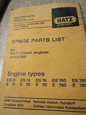 Hatz Diesel Parts List Manual