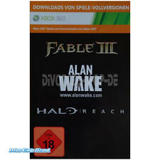 Xbox 360 Fable III 3, Alan wake + Halo reach-Download Code-top