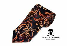 Lord R Colton Masterworks Tie - Charcoal Copper Futurism Silk Necktie - New