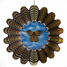 Iron Stop Holographic Animated Butterfly Hanging Metal Wind Spinner Garden Yard