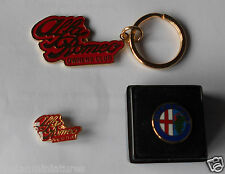 Alfa Romeo Vintage Lapel Pin Badge x 2 & Keyring - Spider GTV 147 156 GT New