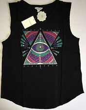 NEW Women's LUCKY BRAND Eye Triangle Graphic Sleeveless Black Tank Top Large