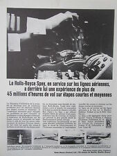 6/1966 PUB ROLLS-ROYCE SPEY ENGINE MOTEURS AVIATION AIRLINER ORIGINAL FRENCH AD