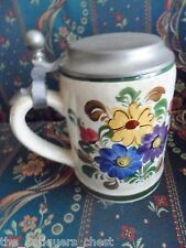 WECHSLER-TIROLKERAMIK SCHWAZ AUSTRIA beer covered stein flower decorations