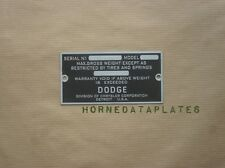 DODGE CARS DATA PLATE 1928 1929 1930 1931 1932 1933 1934 1935 1936 ID TAG