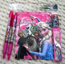 Disney Frozen Pink Stationary Set Character Pencil,Pen,Note Pad,Ruler,Eraser-New