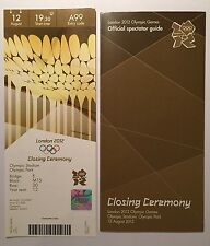 LONDON 2012 TICKET CLOSING CEREMONY 12 AUG 1930 £1500 AND SPECTATOR GUIDE *MINT*