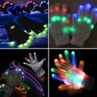 7 Mode LED Black White Rave Gloves Light Up Flashing Finger Lighting Glow USA