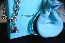 Tiffany Co Sterling Silver 925 Blue Enamel Purse Charm w Tiffany Link Bracelet