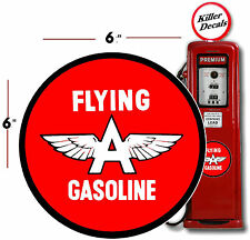 """(FLYI-1) 6"""" FLYING A GASOLINE DECAL GAS AND OIL GAS PUMP SIGN, WALL ART STICKER"""