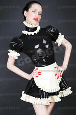 100% Latex Rubber Gummi Maid Dress 0.45mm Servant  Gothic Catsuit Uniform Apron