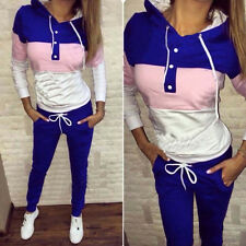 2Pcs Lady Womens Tracksuit Hoodies Sweatshirt Pants Sets Sport Wear Casual Set
