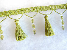 10mts delicate 6.5cm beaded curtain tassel fringe trimming Lime green trim braid