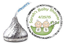 216 TWO PEAS IN A POD TWINS BABY SHOWER FAVORS HERSHEY KISS LABELS -PERSONALIZED