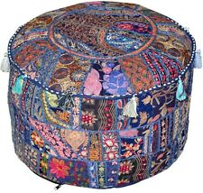 Blue Indian Floor Pouf Ottoman Cover pouffe pouffes Foot Stool Moroccan Pillow