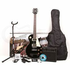 Encore E99 Beginners Electric Guitar Blaster Pack in Gloss Black Les Paul Shape
