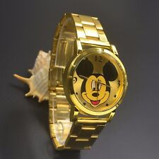 Unusual  Mickey Mouse Adult Gold Stainless Steel Watch