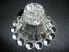Beaded Base Glass CANDLESTICK HOLDER Boopie Clear Anchor Hocking